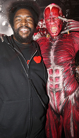 Heidi Klum buddied up with DJ QuestLove at her big party last year. (Chris Weeks/WireImage)