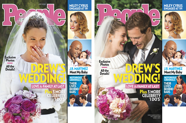 People magazine has two different Drew Barrymore wedding covers this week.