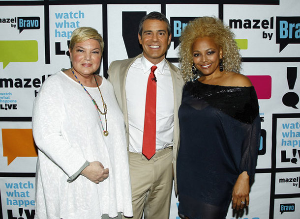 Mindy Cohn and Kim Fields with Andy Cohen (Peter Kramer/Bravo)