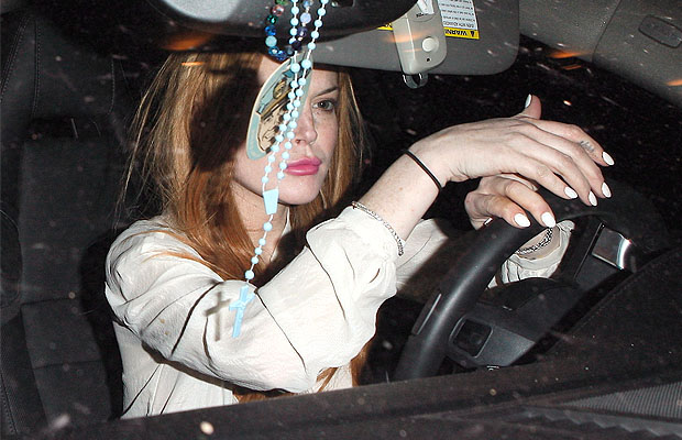 Lohan behind the wheel. (Maciel-Araujo/X17online.com)