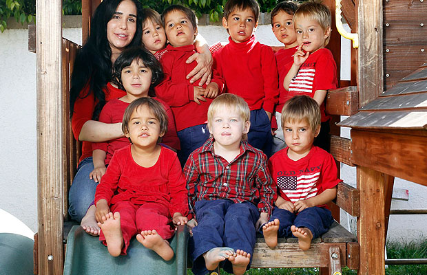 Suleman and nine of her 14 kids. (Nathanael Jones/PacificCoastNews.com)