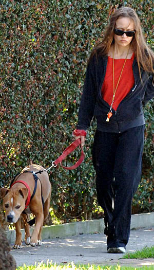 Fiona walking Janet. (PacificCoastNews.com)