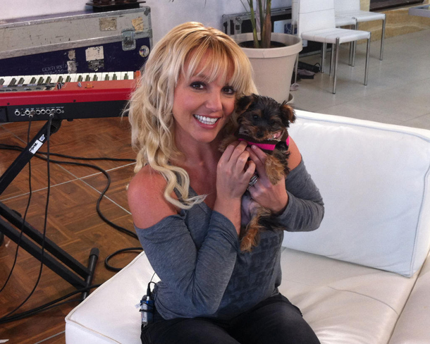 Britney Spears and her new puppy, Hannah (Twitter)