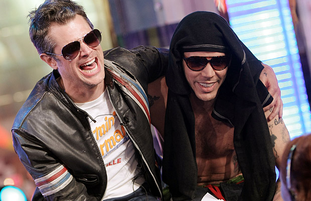 Two loveable Jackasses: Johnny Knoxville and Steve-O. (WireImage)