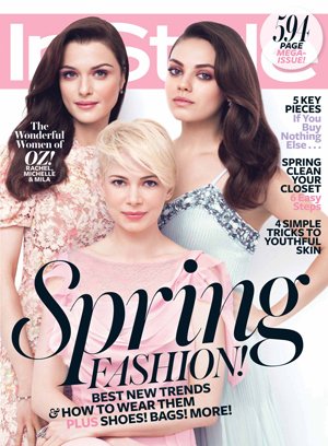 Michelle Williams, Mila Kunis, and Rachel Weisz on the cover of InStyle