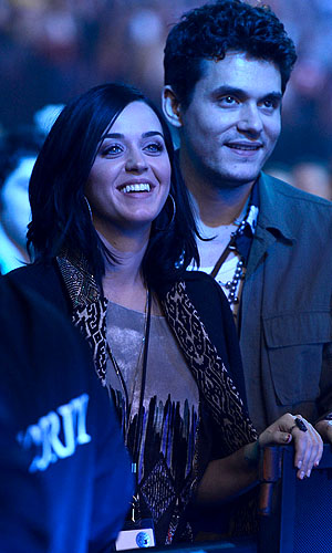 Katy Perry and John Mayer at the Rolling Stones concert (WireImage)