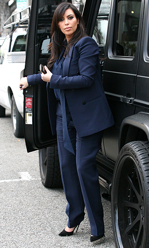 Kim Kardashian after a meeting with her divorce lawyer on February 5 (Splash News)