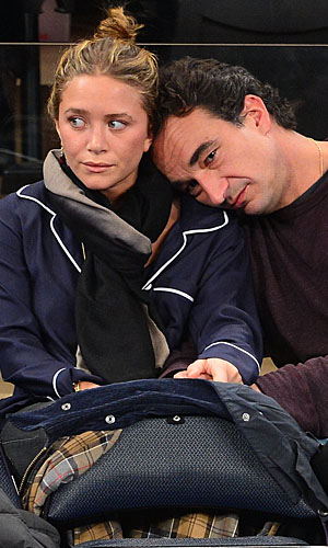 Mary-Kate Olsen and Olivier Sarkozy at Friday's Knicks game. (James Devaney/WireImage)