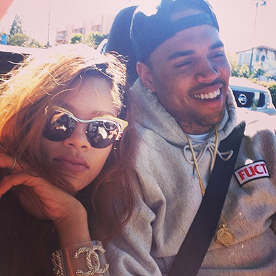 Rihanna rides with Chris Brown (Instagram)