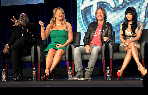 The Season 12 'American Idol' judges at the January 8, 2013, FOX TCA panel (Frederick M. Brown/Getty Images)