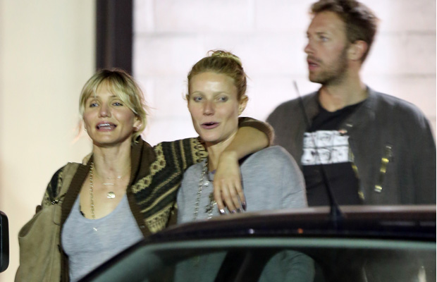 Diaz, Paltrow, and Martin on Monday night. (Splash News)
