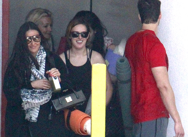 Demi Moore and Rumer Willis leave yoga class. (FameFlynet)