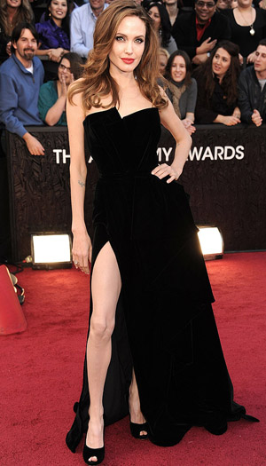 Jolie (and her leg) at the Oscars. (WireImage)