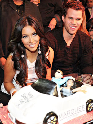 The happy (?) couple at Kim's bday bash. (Denise Truscello/WireImage)