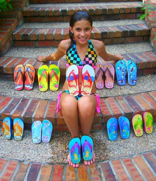 Young entrepreneur Madison Robinson with her Fish Flops
