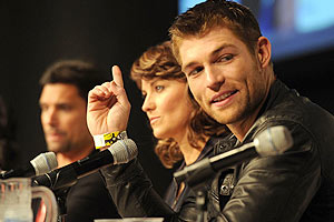 "New star Liam McIntyre (right) at the ""Spartacus"" panel (Michael Buckner/WireImage.com)"