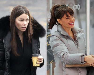 Left: A bare-faced Sofia on her way to get her hair and make-up done. Right: Sofia emerges looking polished and glam on the set of