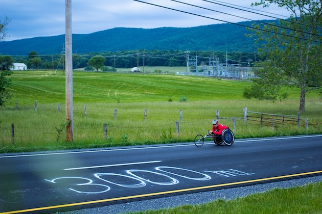 Ryan Chalmers in Virginia at the 3,000 mile mark (Parker Feierbach)