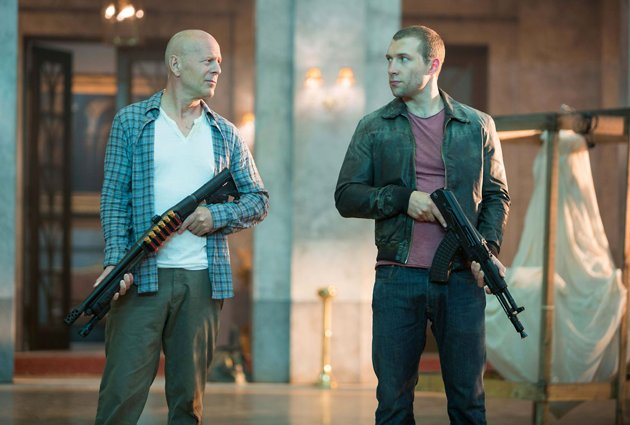 John (Bruce Willis) and Jack McClane (Jai Courtney) in 20 Century Fox's 'A Good Day to Die Hard'