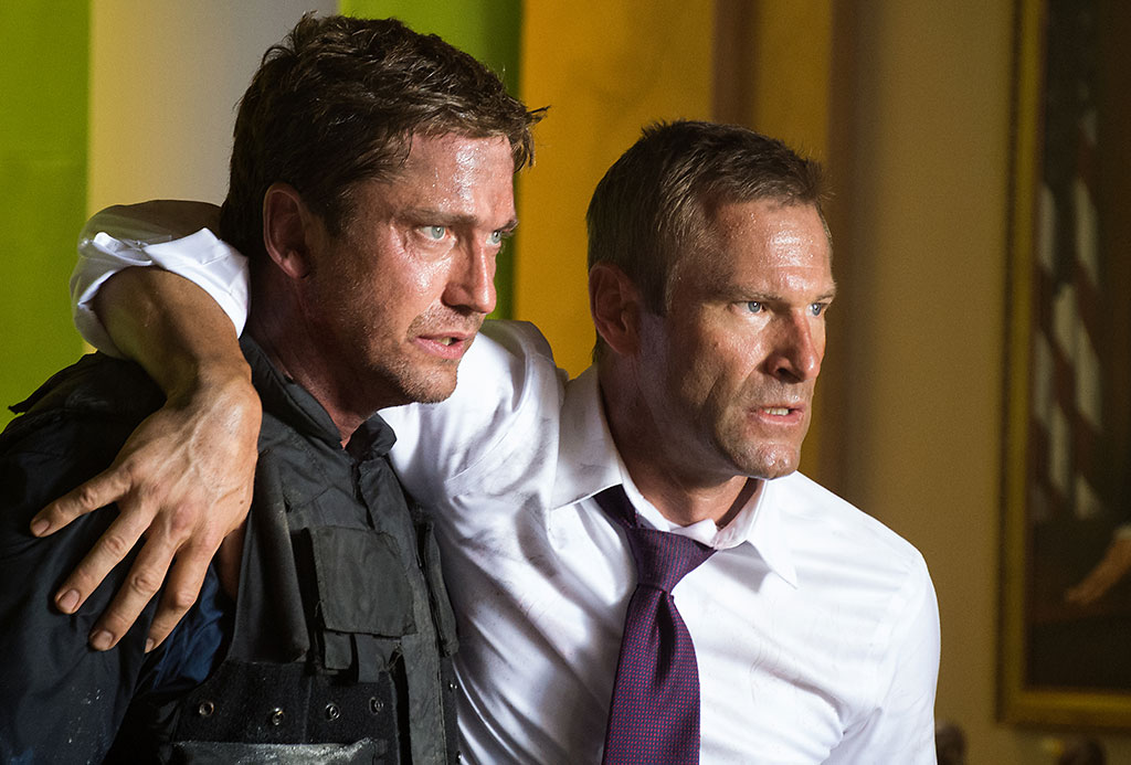 Gerard Butler and Aaron Eckhart in FilmDistrict's 'Olympus Has Fallen'.
