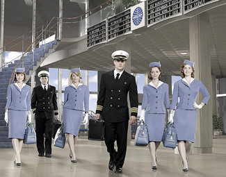 "Don't be fooled: It's itchy underneath those ""Pan Am"" costumes (Bob D'Amico/ABC)"