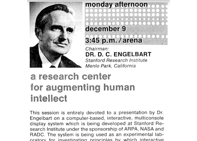 "Engelbart on a flier for the famous 1968 ""mother of all demos."" (Credit: Stanford Research Institute)"