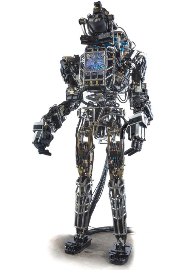Robot-at-arms: Atlas is 6 foot, 2 inches tall and weighs 330 pounds. (Credit: DARPA/Boston Dynamics)