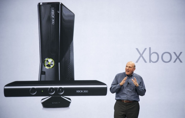 Microsoft CEO Steve Ballmer talks about Xbox (Credit: AP Photo/Damian Dovarganes)