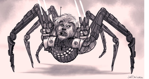 Artist Jeff Delgado quickly came up with a Chewbacca robot drawing based on Patton Oswalt's rant. (Credit: Jeff Delgado)