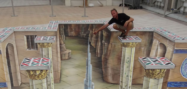 3D street artist Leon Keer with one of his creations.
