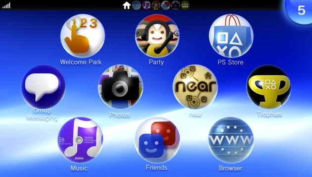 PS Vita Home Screen (Sony)