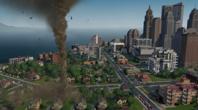 A twister wreaks havoc in SimCity (Credit: EA)