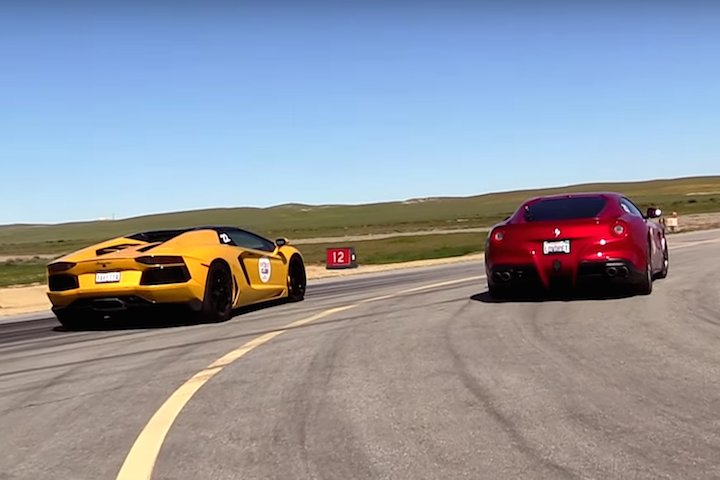 watch a ferrari f12 and lamborghini aventador roadster hit the drag strip. Cars Review. Best American Auto & Cars Review