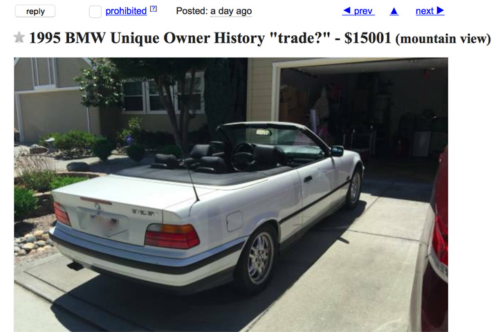 steve jobs 1995 bmw can be yours for 15 001. Black Bedroom Furniture Sets. Home Design Ideas