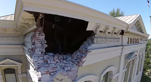 Drone tours Napa earthquake damage