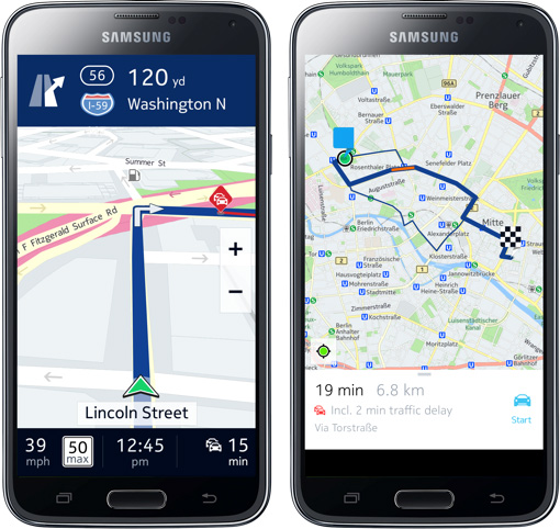 Con HERE maps, Samsung se alía con Nokia