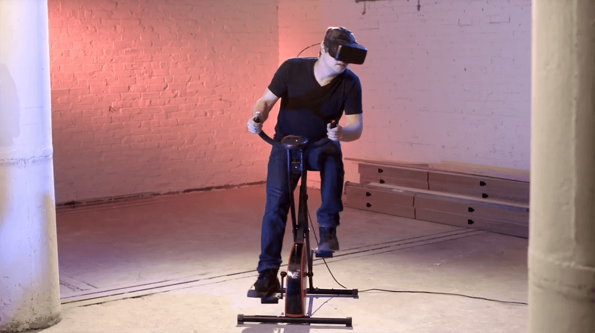 Burn calories while you explore other world's with VirZoom's VR stationary bike