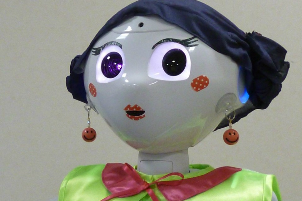 Check out what Pepper the robot looks like in a wig and makeup