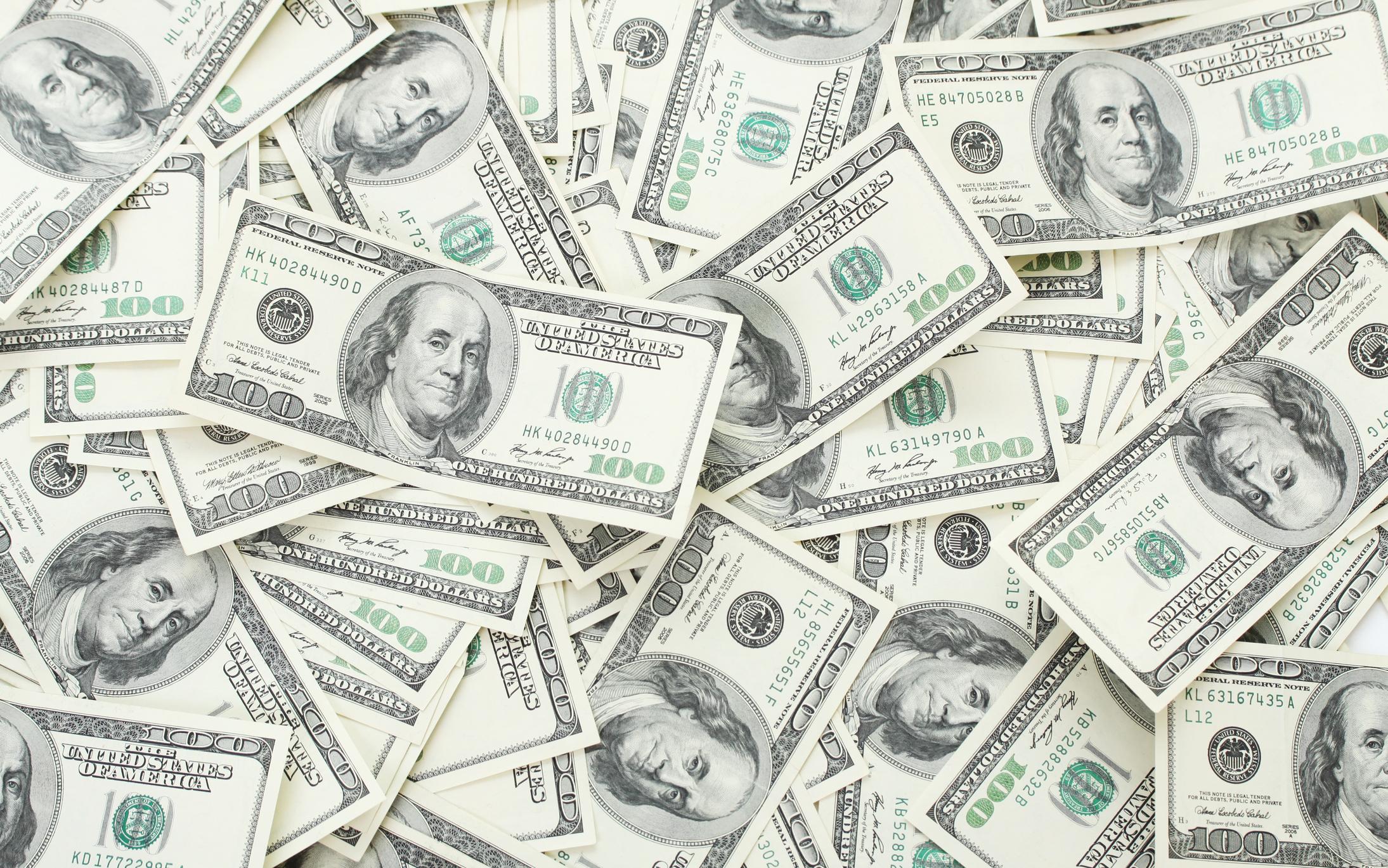 Pile of hundred-dollar bills.