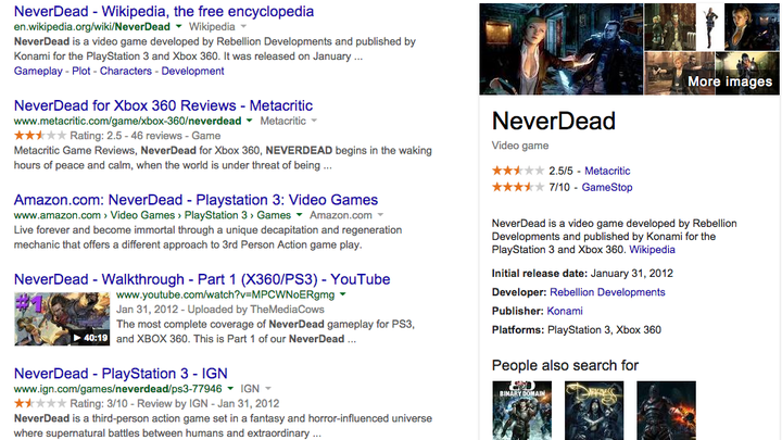 Google adds video games to its Knowledge Graph