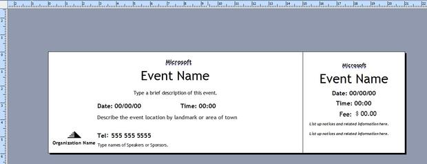 Double Click One Of The Ticket Templates (Figure A). Figure A  Free Ticket Templates For Microsoft Word