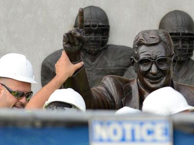 Joe Paterno statue at Penn State was removed Sunday. (AP)
