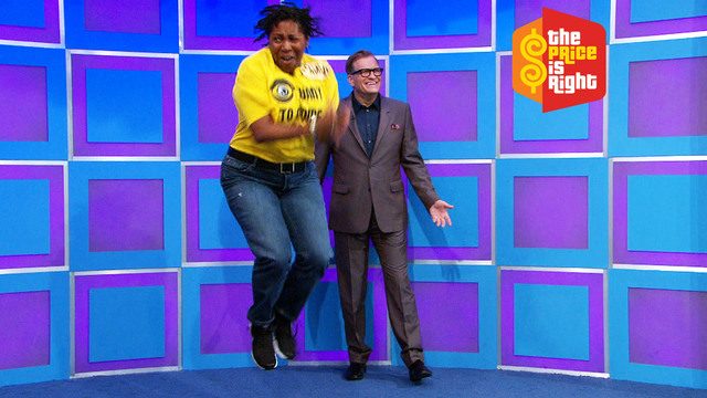 "Drew Carey with a ""Price Is Right"" contestant"