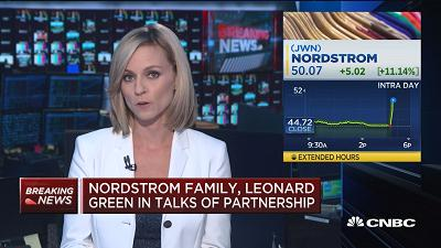 Nordstrom shares rise as family nears deal with Leonard Green for bid to take retailer private