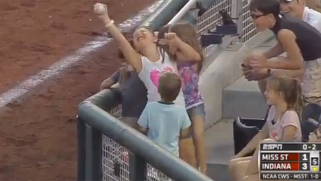 College World Series foul ball leads to teachable moment