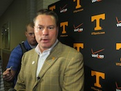 Jones greets media at SEC Meetings