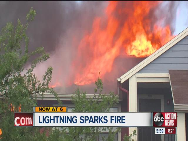 Apartment severely burned after lightning strike