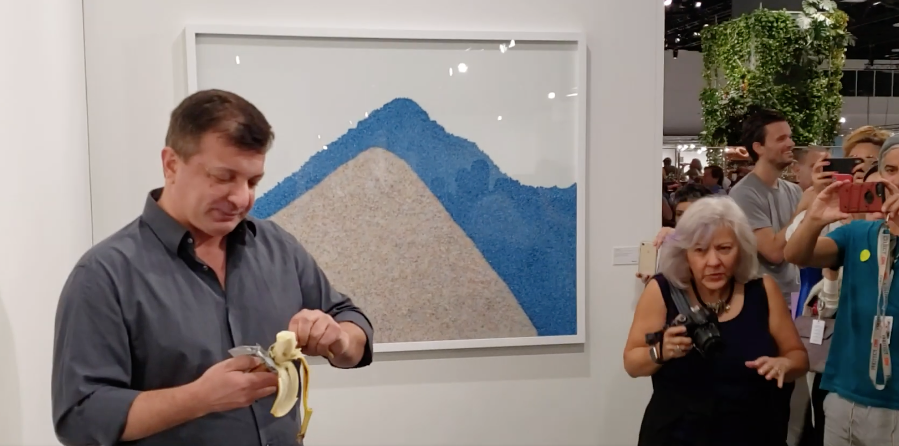 Картинки по запросу Man arrested after eating $120,000 banana from Art Basel exhibition