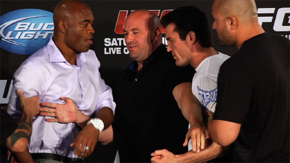 The fireworks early, as Anderson Silva and Chael Sonnen nearly come to blows at a press conference. (UFC)