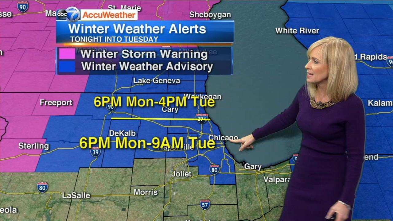 Chicago Weather: Snow, sleet, freezing rain coming Monday evening